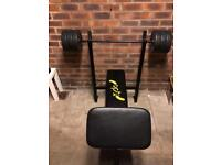 weight bench with 30k weight set and bar bell