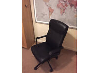 Ikea swivel desk chair (£59 new), used, some wear on armrest but otherwise good condition