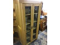 Oak Glazed Bookcase - lovely condition