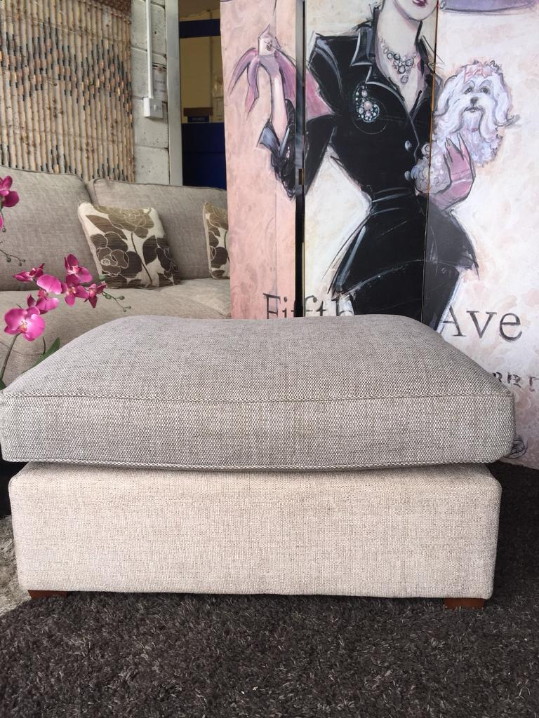 New Large Footstool in Barley Beige Colour Fabric Base With Dark Beige Cushion Top