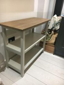 Two shelf unit Marks & Spencer grey with wooden top
