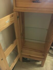 IKEA CUPBOARD CABINET WITH GLASS SHELF AND PULL OUT DRAWER