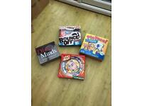 Various board games - dirty minds/uno spin/bounce off/pie face