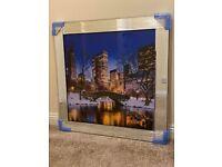 New York Central Park Glass Picture Mirror Framed Liquid Art (85x85cm) – BRAND NEW