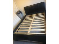 Dreams double dark brown leather bed frame