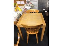 Wooden Dining Table & 2 Chairs