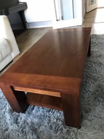 Coffee Table - oak veneer, solid, good condition, 60cm(w) x 115(l) x 40(h)