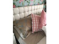 White faux king size headboard and bed base no mattress