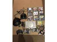 Sony Playstation original 1 10 games Ferrari steering wheel and pedals