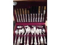 Dazzling silver-plated cutlery set. Boxed 42 piece Cooper Ludlam (Sheffield).