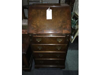 Gorgeous Slim Lockable Antique Victorian Walnut Burr Ladies Writing Desk Bureau with Drawers