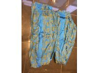 2 Blue patterned, lined curtains 190 by 160