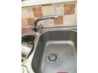 Kitchen chrome mixer tap great condition hot and cold tap and long spout £10 vgc