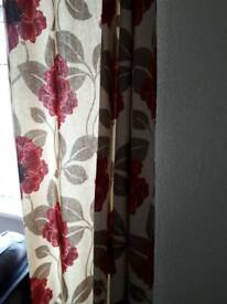 90 x 90 lined red flowers and beige red topped eyelet curtains