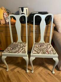 2 chairs up cycled shabby chic in sage with great fabric free local delivery