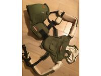 Never Used Bebamour Cotton Baby Carrier Hip Seat 6 in 1 Ergonomic Front Carrier Sling Wrap Green