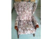 Wing back fireside armchair