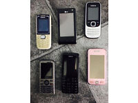Six mobile phones,all work perfect,take all for only £45,no offers/time wasters please,no chargers.