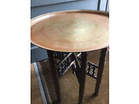 Benares Style Brass Topped Side Table , in good condition. Size Diameter 23in Height 21in.