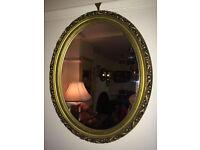 Chic Ornate Gilt Carved Antique Oval Mirror Gold Wood Frame
