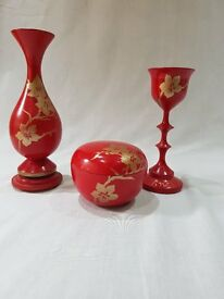 Hand crafted and hand painted bespoke wooden red and gold ornaments, goblet, vase and trinket box