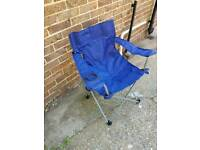 blue collasiable camping chair