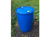 45 gallon drum, blue, water container