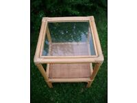 SMALL WICKER AND GLASS SIDE TABLE