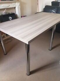 Large Chocolate wood effect office meeting tabl, never been used chrome legs