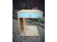 Fabulous stylish shabby chic modern bedside table with 2 way drawer on castors
