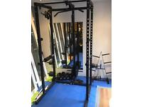 Squat cage, bench press, lat pull down, pull up, seated row machine