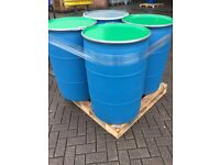 Shipping Plastic Barrels / Drums 210 litre with metal lids and lever locking fasteners RECONDITIONED