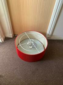 2x Large Red Light fittings & shade