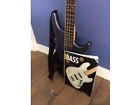Bass Guitar - Lindo galaxy blue bass guitar, including strap, case and book