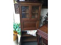 Handsome Rare Neat Antique Solid Oak Inlaid Lockable Writing Bureau Bookcase w Glazed Leaded Doors