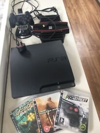 Sony PlayStation 3 - hardly used, with controller and stand/charger, amd 3 games