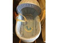 Baby boys Moses basket as new