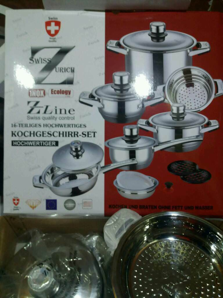 Brand New Swiss 16pc pots and pans cookware kitchen