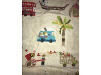 Transport theme biscuit coloured curtains ideal for bedroom