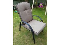 6 x reclining garden chairs with cushions