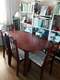 BEAUTIFUL DINING TABLE AND 6 NEWLY UPHOLSTERED CHAIRS