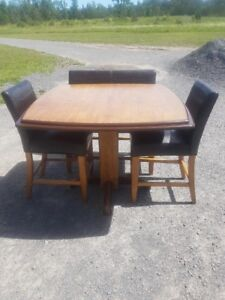 Table, two chairs and a bench