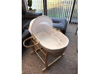 Clair de Lune Starburst Moses basket and stand