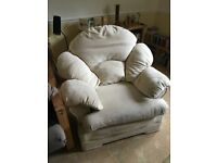 Cream cloth arm chair - free to collector