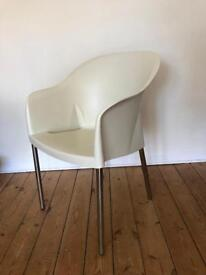 Cream plastic bucket chair / office / vanity