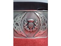 **** BRAND NEW, NEVER USED LEATHER KILT BELT AND BUCKLE ****