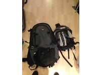 Blackwolf 65 litre backpack plus zip on ruck sack