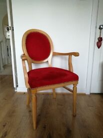 Hand made red velour vintage style chair