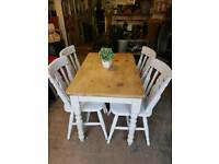 Pine table and 4 farmhouse chairs
