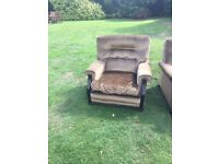good quality olive velvet green sofa and chair for sale £50.00